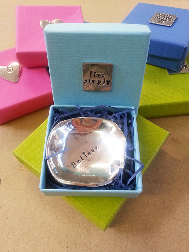 Boxed pewter charm bowls in various styles