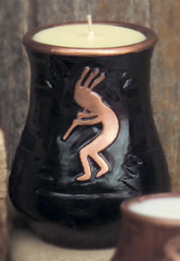 Kokopelli Vase Candle